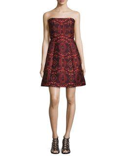 Alice + Olivia Nikki Strapless Tribal Print Dress, Red/Orange