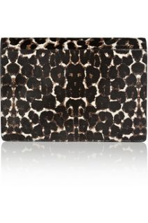 Angy leopard print calf hair and leather clutch