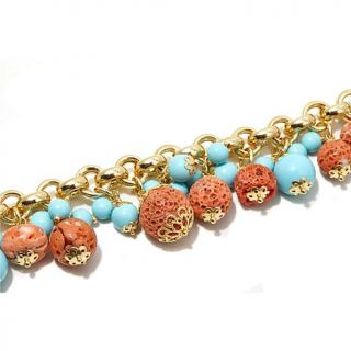 Dea Coral and Simulated Turquoise Bead Dangle Gold Plated Sterling Silver Brace   7871995