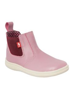 Chipmunks Girls Callie Pink Leather Ankle Boot. Pink