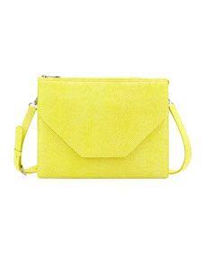 Eric Javits Kirsten Pebbled Crossbody Bag, Lemon