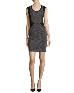 Nicole Miller Sleeveless Striped Ponte Dress, Gray Multi