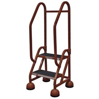 """COTTERMAN 2 Step Rolling Ladder, Rubber Mat Step Tread, 48"""" Overall Height, 450 lb. Load Capacity   Rolling Ladders   6LYH8