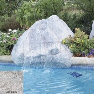 "Interfab 4200 22 500 GPH Keystone Pool Side Waterfall, 45"" x 38"" x 21""   Light Granite"