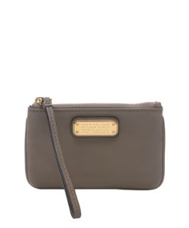 Marc By Marc Jacobs Taupe Leather Logo Plaque Wristlet (355310601)