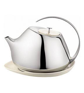 GEORG JENSEN   Helena stainless steel teapot wih coaster