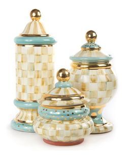 MacKenzie Childs Parchment Check Canisters