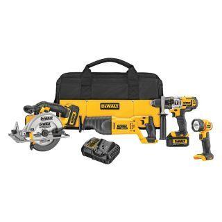DEWALT Cordless Combination Kit, Voltage 20.0 Li Ion, Number of Tools 4   Cordless Combination Kits   11A161 DCK491L2