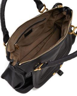 Chloe Marcie Large Leather Satchel Bag, Black