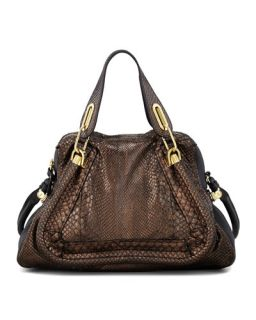Chloe Paraty Medium Metallic Python Shoulder Bag, Gold