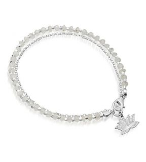 ASTLEY CLARKE   Silver lotus diamond and agate friendship bracelet