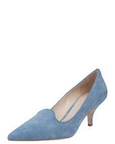 Elizabeth and James Clark Pointed Toe Suede Smoking Slipper Pump, Soft Blue