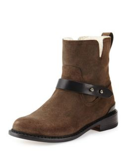 Rag & Bone Ashford Shearling Fur Lined Moto Boot, Stone