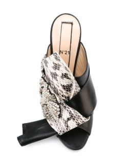 Nº21 Snakeskin Effect Bow Mules   Traffic Los Angeles