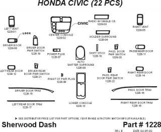 2001, 2002 Honda Civic Wood Dash Kits   Sherwood Innovations 1228 CF   Sherwood Innovations Dash Kits