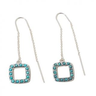 Studio Barse Gemstone Sterling Silver Open Square Drop Threader Earrings   7922395