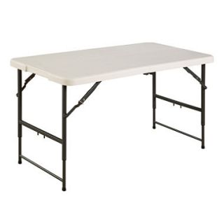 Maxchief 4 Adjustable Height Fold in Half Table   White