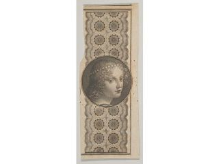 Banknote motif with a girl's head derived from Leonardo da Vinci against a patterned band Poster Print (18 x 24)