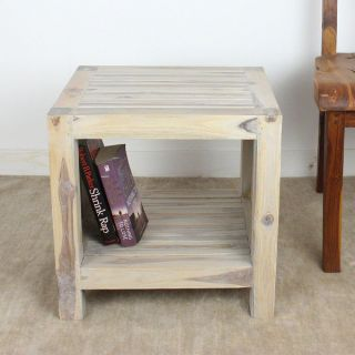 Handmade Teak Slat 18 x 16 x 18 Agate Grey End Table with Shelf