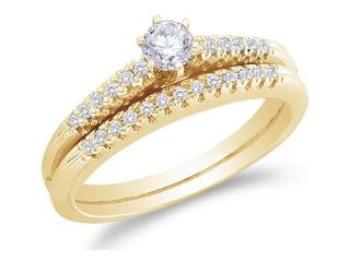 10K Yellow Gold Diamond Classic Traditional Ladies Engagement Ring with Matching Wedding Band Two 2 Ring Set   Solitaire Setting w/ Channel Set Round Diamonds   (1/3 cttw, G   H Color, SI2 Clarity)