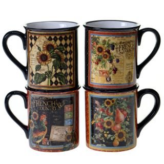 Certified International French Country 16 ounce Mugs (Set of 4