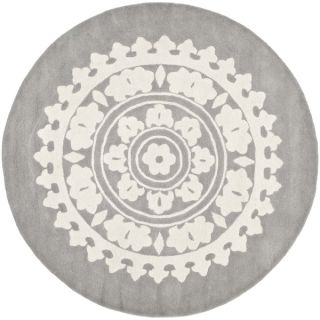 Safavieh Handmade Soho Light Grey/ Ivory Wool Rug (4 Round