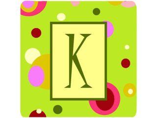 Set of 4 Monogram   Green Foam Coasters Initial Letter K
