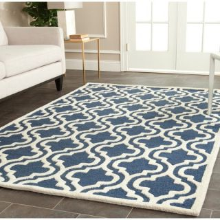 Safavieh Handmade Cambridge Moroccan Geometric Pattern Navy Wool Rug