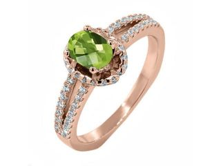 1.36 Ct Oval Checkerboard Green Peridot 18K Rose Gold Plated Silver Ring