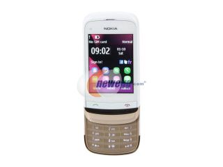 "Nokia Touch and Type US C2 02 White/Gold Unlocked GSM Slide Phone / 2 MP Camera / Bluetooth / Music / 2.6"" Touchscreen (C2 02)"
