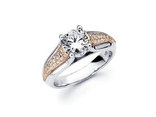 18k Two 2 Tone Gold Diamond (G H, SI2) Engagement Ring Semi Mount   1 Ct Center Stone Not Included