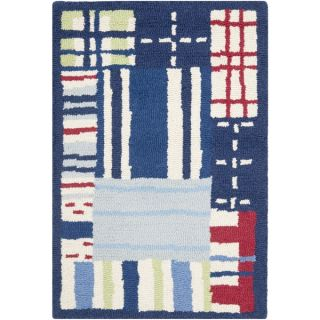 Safavieh Handmade Childrens Matrix Blue New Zealand Wool Rug (2 x 3