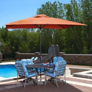 Island Umbrella Caspian 8 ft. x 10 ft. Rectangular Market Push Button Tilt Patio Umbrella in Terra Cotta Olefin NU5448TC