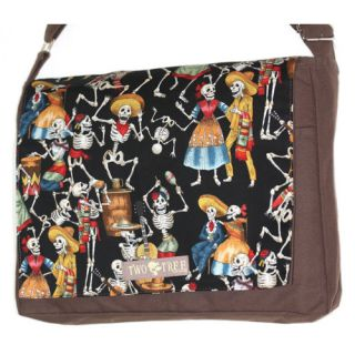 Handmade Medium Brown Day of the Dead Dancing Skeletons Messenger Bag