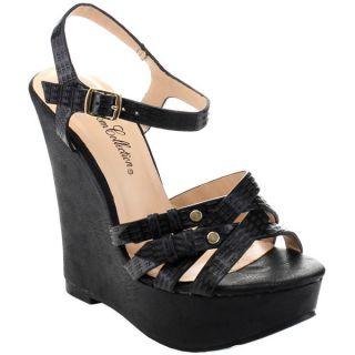 De Blossom Womens Troy 8 Criss cross Ankle Strap Wedges   17067557