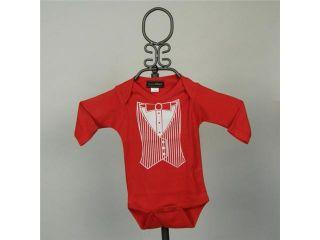 Baby Milano Long Sleeve Red Tuxedo Vest Onesie