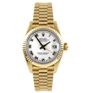 Pre Owned Rolex Womens President Yellow Gold Fluted Bezel Automatic