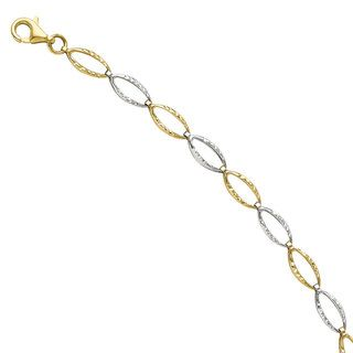 14k Two tone Gold Circle of Love Toggle Necklace   13248049