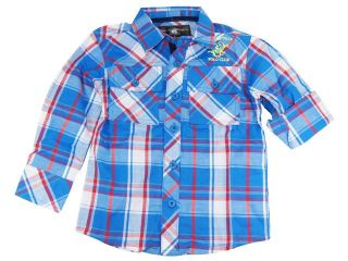 Beverly Hills Polo Club Little Boys' Blue Plaid Long Sleeve Roll Up Shirt 2T