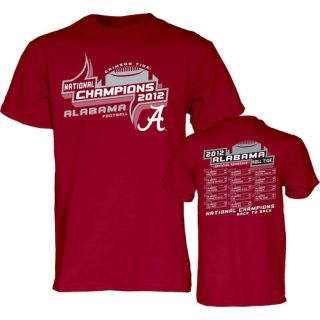 Alabama Crimson Tide 2012 BCS National Champions Final Schedule T Shirt   Crimson