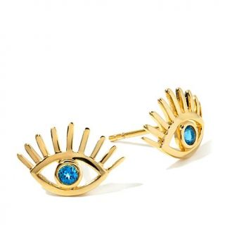 "Rarities: Fine Jewelry with Carol Brodie London Blue Topaz Vermeil ""Evil Eye"" S   7716004"