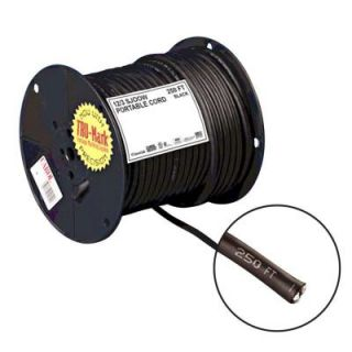 Carol Brand 250 ft. 12/3 Black Portable Power SJOOW Electrical Cord 01380.35T.01