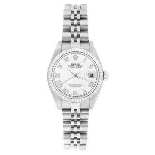 Pre owned Rolex Womens 69174 Datejust Jubilee Bracelet White Roman