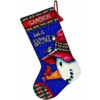 Snowman Perch Stocking Needlepoint Kit, 16 Long Stitched In Wool & Thread