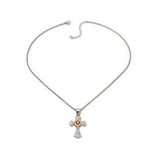 Michael Anthony Jewelry® 2 Tone Nativity Stone Stainless Steel Cross Pendan   7890045