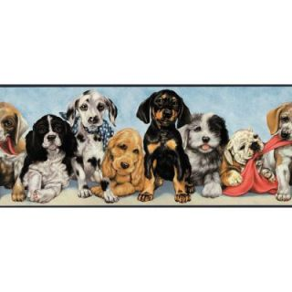 The Wallpaper Company 10.25 in. x 15 ft. Multi Colored Playful Puppies Border DISCONTINUED WC1285274