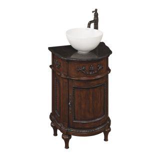 allen + roth Vinton Sienna Vessel Single Sink Birch/Poplar Bathroom Vanity with Granite Top (Faucet Included) (Common 26 in x 19 in; Actual 26 in x 19 in)
