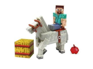 Minecraft Overworld Steve With White Horse 2 Pack