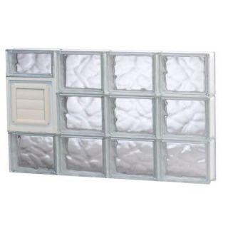 Clearly Secure 31 in. x 17.25 in. x 3.125 in. Wave Pattern Glass Block Window with Dryer Vent 3218SDCDV