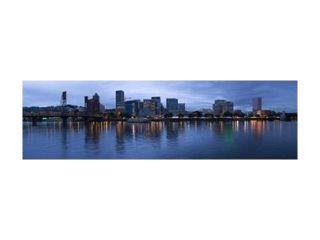 Skyline as seen from the Vera Katz Eastbank Esplanade, Willamette River, Portland, Multnomah County, Oregon, USA Print